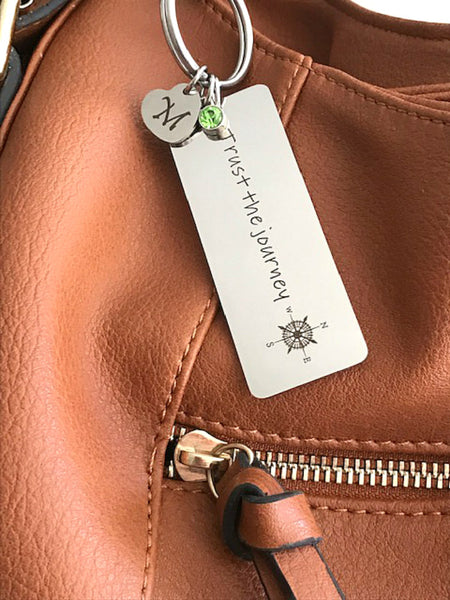 Keychain on a brown leather purse - Charmful Impressions