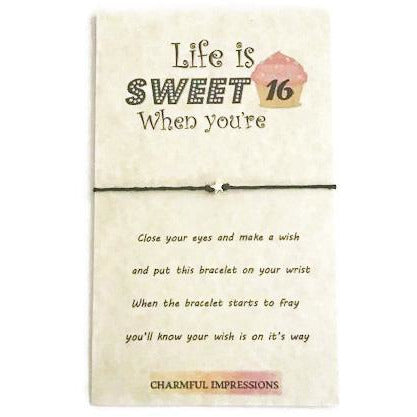 Sweet 16th birthday wish bracelet - Charmful Impressions
