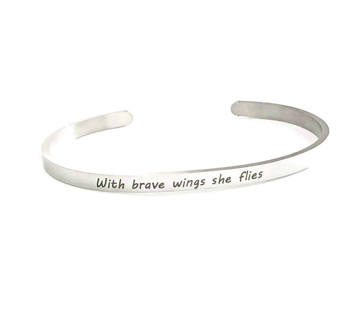 With brave wings she flies cuff bracelet- Charmful Impressions