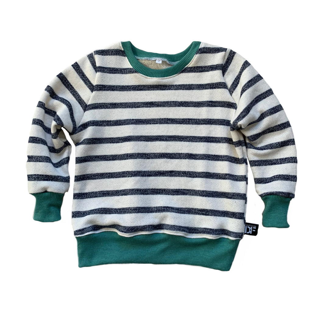 RTS Crew Sweater - Navy & Ivory Stripe