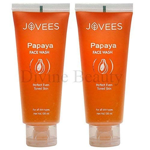 Jovees Pack Of 2 Herbals Papaya Face Wash For Perfect Even Toned Skin - 120 Ml