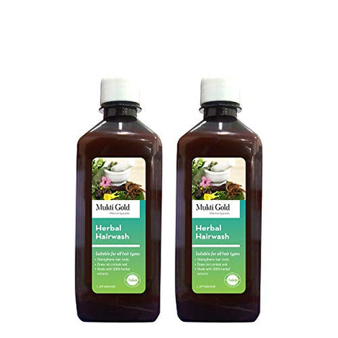 Axiom Muktigold Herbal Hairwash 500 ml (PACk Of 2) | Strengthens Hair Roots | Does Not Contain Salt | Prevents Premature Greying Of Hair