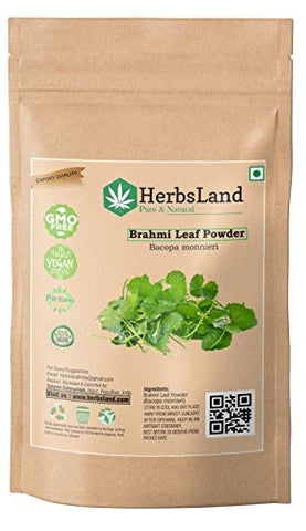 HerbsLand® 100% Bio Organic Brahmi Leaves Powder (Bacopa Monnieri) for Hair Growth & Skin Care | Hair and Scalp Treatment (100 gm)