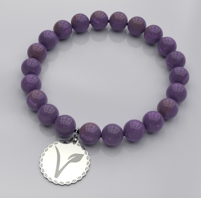 Engraved V Vegan Bead Bracelet