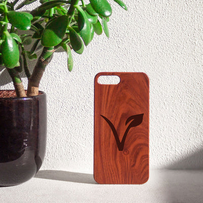 Engraved Vegan V Wooden Iphone Case