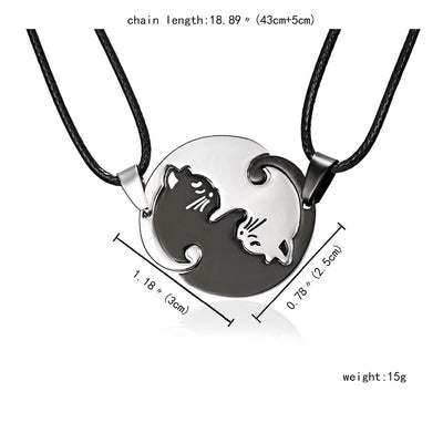 Ying and Yang Cat Necklace For Two