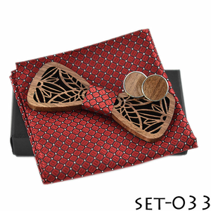 Wooden Bow Tie And Handkerchief