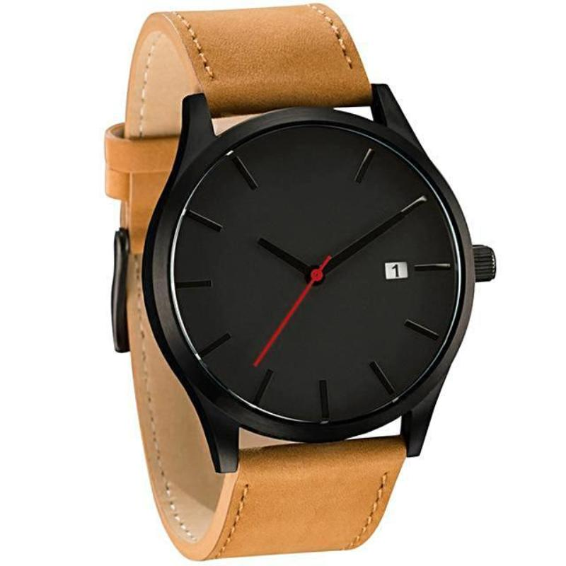 luxury black face brown belt wristwatch