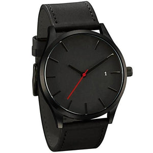luxury black face black belt wristwatch
