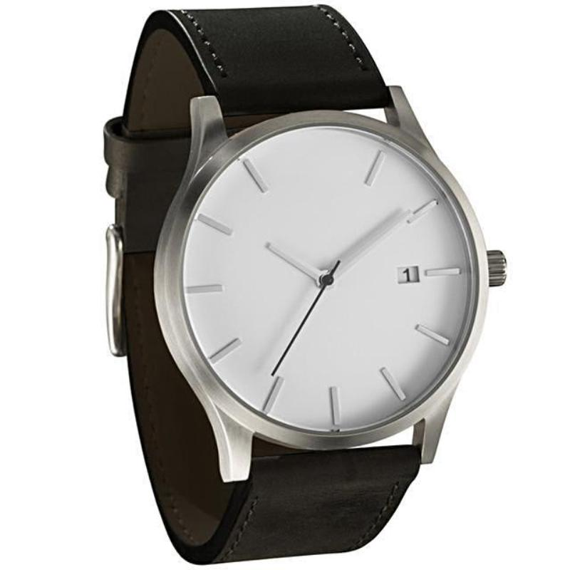 luxury white face black belt wristwatch