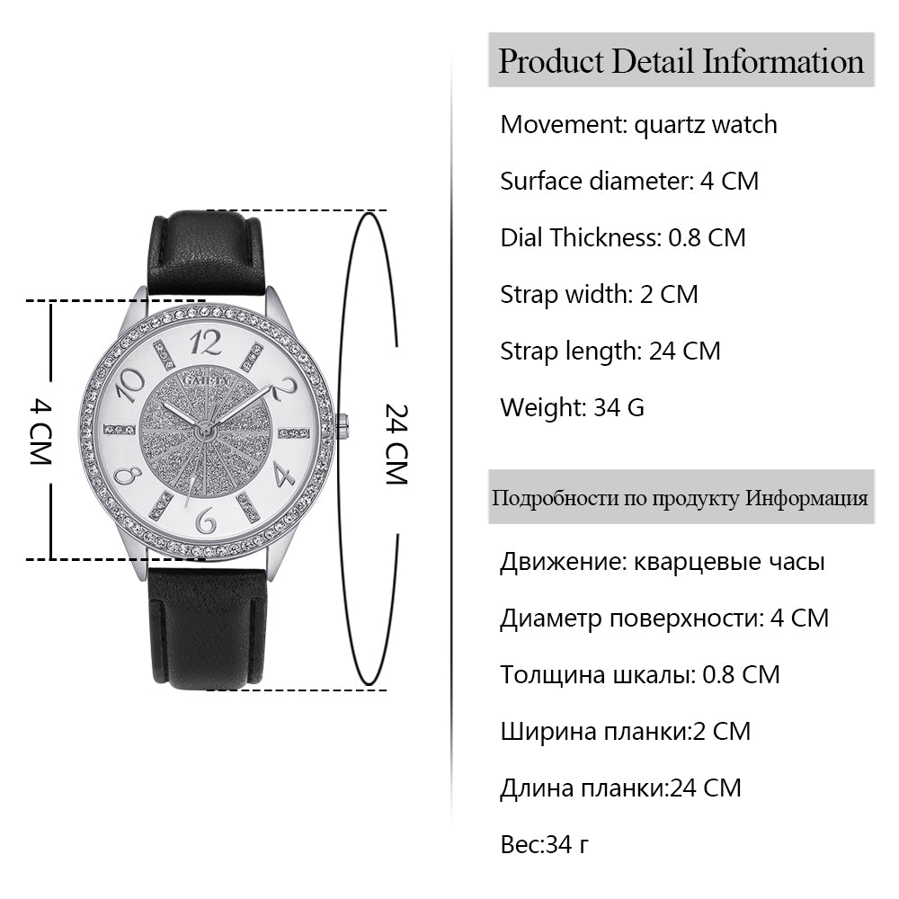 Luxury Crystal Leather Watch
