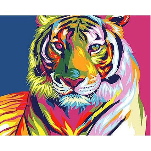 Colorful Tiger Paint-By-Numbers PaintMe Kit