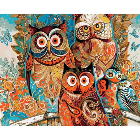 Colorful Owls Paint-By-Numbers PaintMe Kit