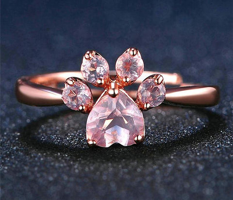 Rose Gold Cat Paw Ring - Common Bunny