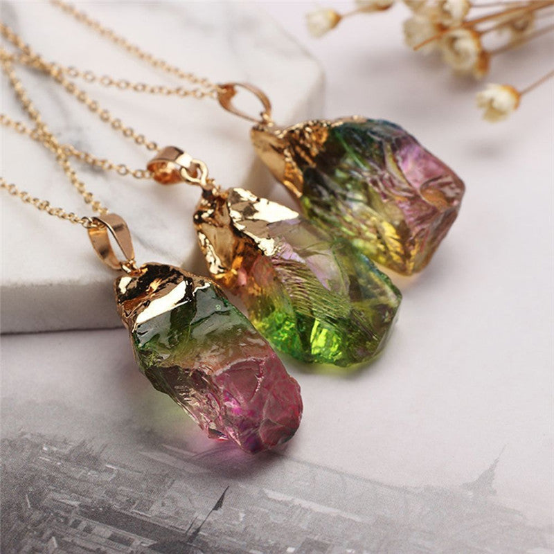 products for fine chains necklaces women pink necklace purple pendants natural leather crystal stone jewelry column hexagonal pendant