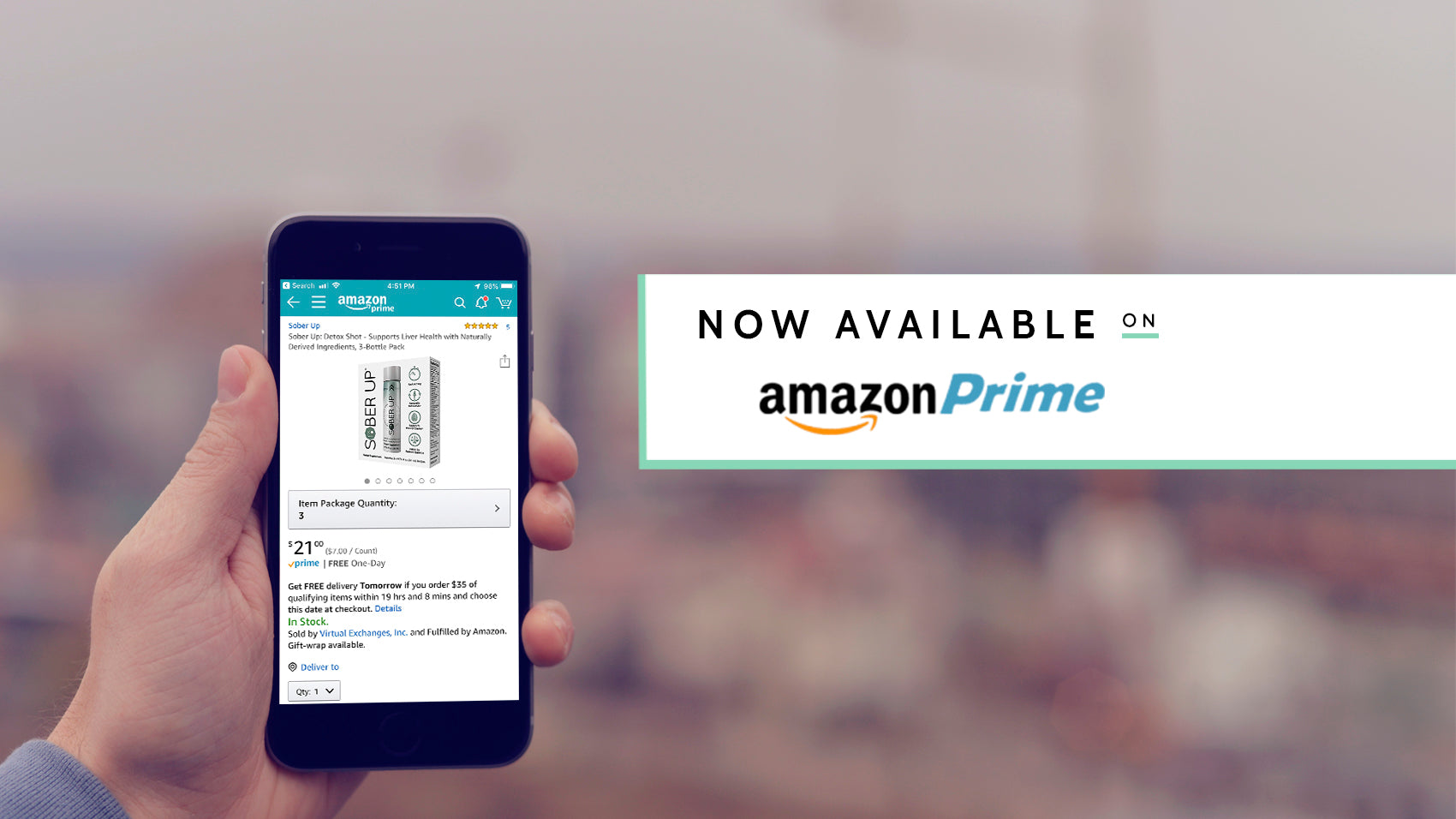 Sober Up® is now available  w/free shipping on Amazon Prime