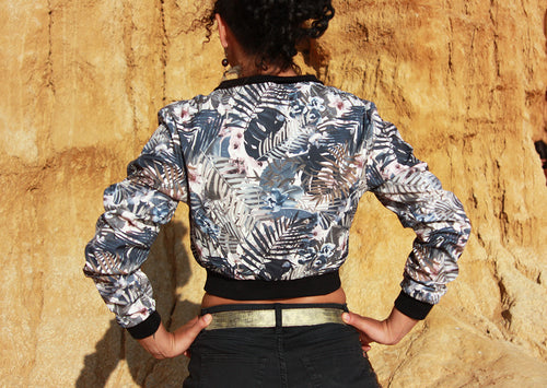 Tropical Tryst Cropped Bomber Jacket
