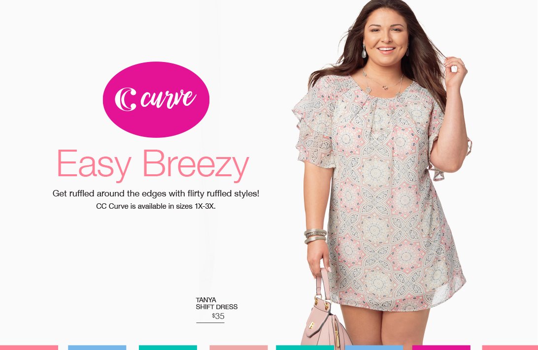 Easy Breezy. Get ruffled around the edges with flirty ruffled styles! CC Curve is available in sizes 1X-3X