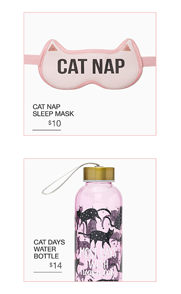 Cat Sleep Mask and Water Bottle