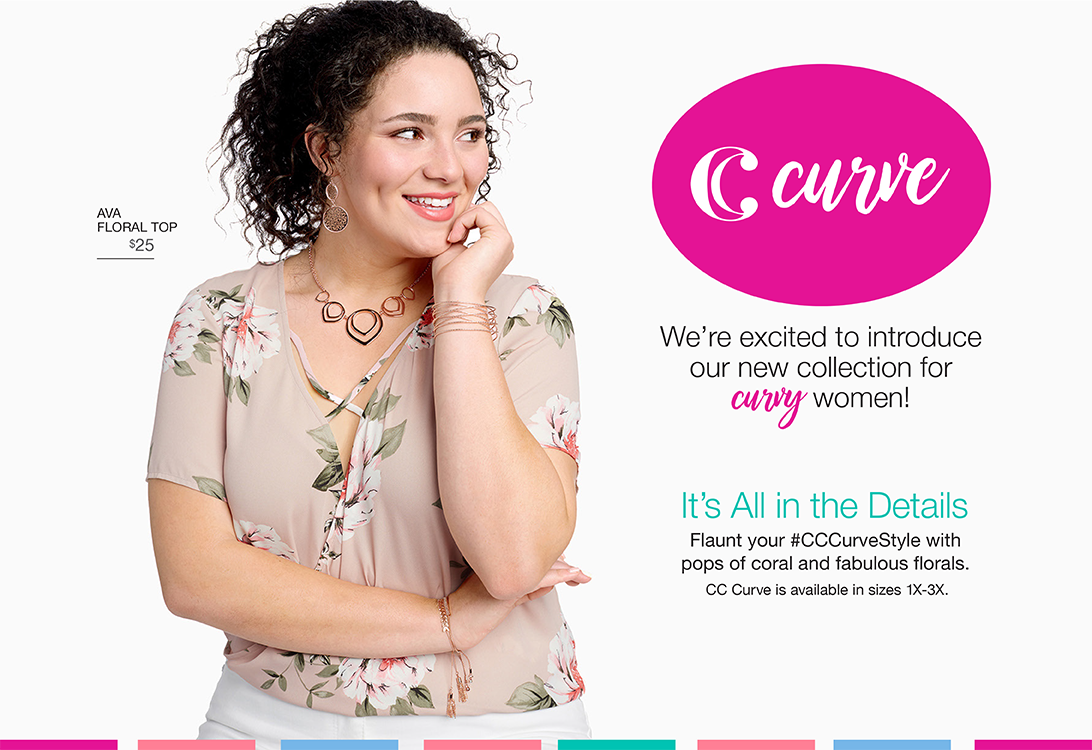 We're excited to introduce our new collection for curvy women! It's All in the Details. Flaunt your #CCCurveStyle with pops of coral and fabulous florals.