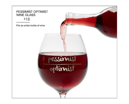 Pessimist Optimist Wine Glass