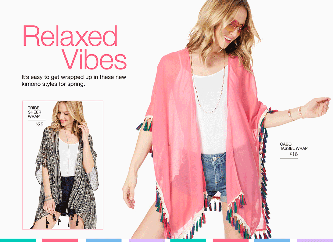 Relaxed Vibes. It's easy to get wrapped up in these new kimono styles for spring.