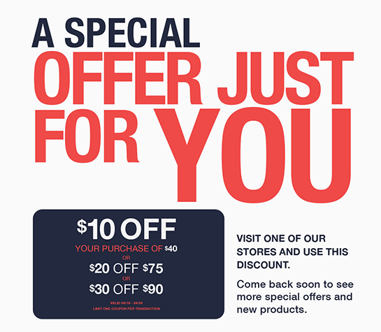 $10 off $40, $20 off $75, $30 off $90 coupon