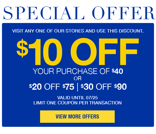 Special Offer $10 Off $40, $20 off $75, $30 off $90