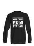 keep calm and reload mens long sleeve survival supply store shirt