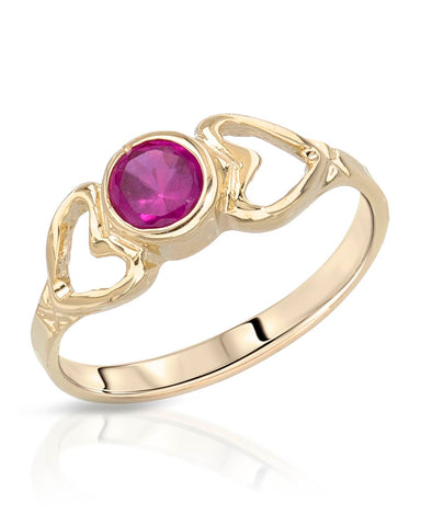 0.30 CTW Round Pinkish Red Ruby 14K Gold Heart Ladies Ring Size 3 Weight 1.2g.