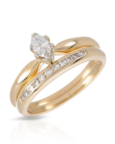 WHITEHALL 0.31 CTW SI1-SI2 Marquise Diamonds 14K Gold Wedding Set Ring Size 6.5