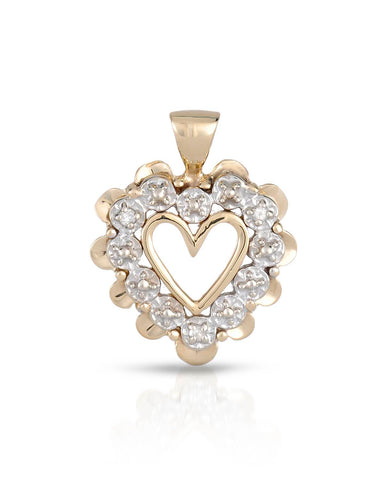 LUNDSTROM 0.02 CTW Accent Round Diamonds Gold Heart Ladies Pendant