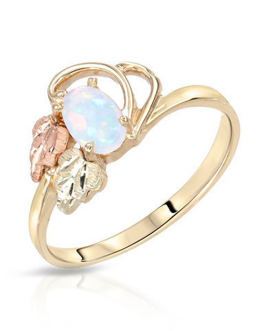 Cabochon Play of Color Opal Gold Ladies Ring Size 7 Weight 1.9g.