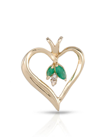 LUNDSTROM 0.20 CTW Accent Marquise Green Emerald Gold Heart Ladies Pendant