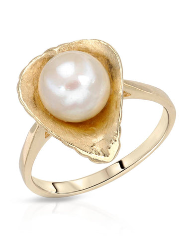 Round White Freshwater Pearl 14K Gold Ladies Ring Size 8 Weight 4.3g.