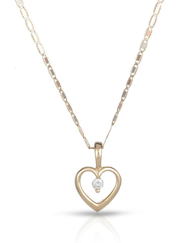 WHITEHALL 0.06 CTW G VS2 Round Diamond 14K Gold Heart Ladies Necklace