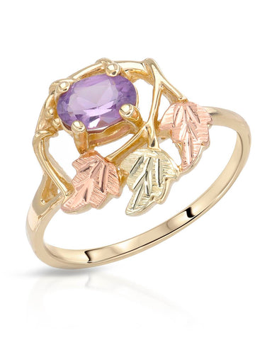 0.42 CTW Oval Purple Amethyst Gold Ladies Ring Size 7 Weight 2.4g.