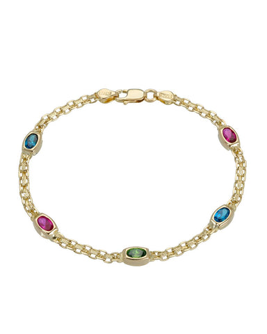 Oval Multicolor Multi Gems 14K Gold Ladies Bracelet Weight 5.5g. Length 7 in