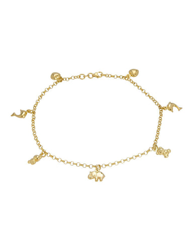 14K Gold Ladies anklet Weight 5.1g. Length 9.5 in Free US Shipping