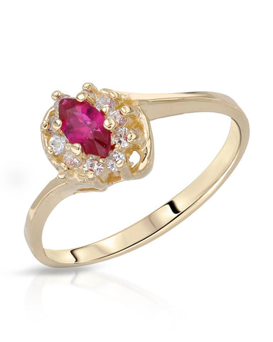 0.30 CTW Marquise Purple-Red Ruby 14K Gold Ladies Ring Size 6.5 Weight 2.2g.