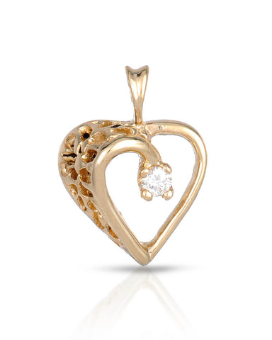 WHITEHALL 0.03 CTW G VS2 Round Diamond 14K Gold Heart Ladies Pendant