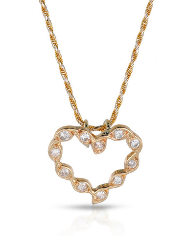 LUNDSTROM 0.33 CTW G-H SI2-SI3 Round Diamonds 14K Gold Heart Ladies Necklace