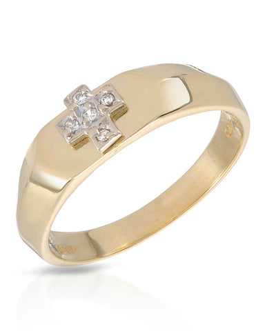 LUNDSTROM Round White Cubic Zirconia 14K Gold Cross Men's Ring Size 9.5