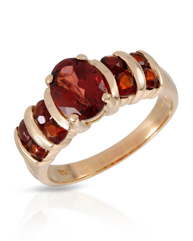 MAGNOLIA 2.20 CTW Multi-Shaped Reddish Brown Garnet 14K Gold Ladies Ring Size 7
