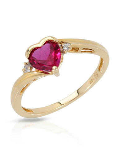1.35 CTW Accent Heart Purplish Red Ruby Gold Heart Ladies Ring Size 6.5