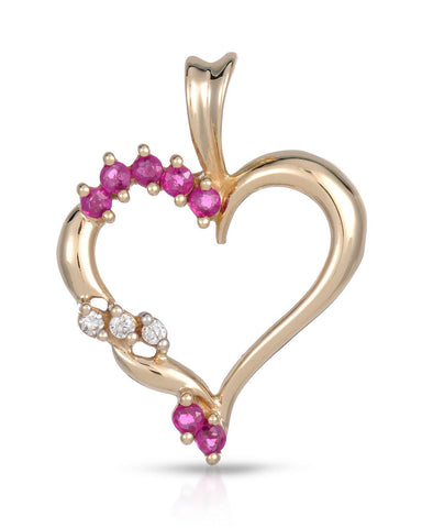 MAGNOLIA 0.35 CTW SI2-SI3 Round Purplish Red Ruby Gold Heart Ladies Pendant