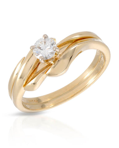 WHITEHALL 0.33 CTW G VS1 Round Diamond 14K Gold Solitaire Ladies Ring Size 6.5
