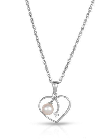 MAGNOLIA SI2 Round White Freshwater Pearl 14K Gold Heart Ladies Necklace