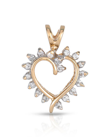 LUNDSTROM 0.18 CTW G I1-I2 Round Diamonds 14K Gold Heart Ladies Pendant
