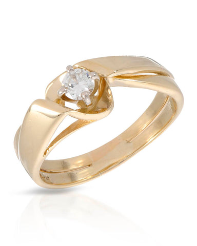 WHITEHALL 0.18 CTW G-H SI1 Round Diamond 14K Gold Solitaire Ladies Ring Size 7
